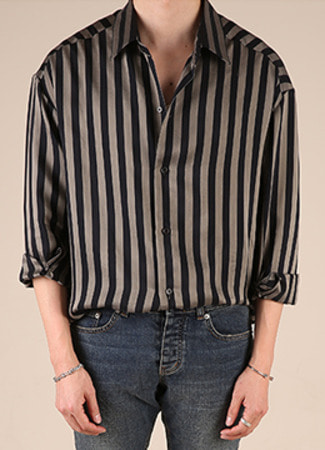 [Italy fabric] Oversized stripe shirt-2 color [Limited]