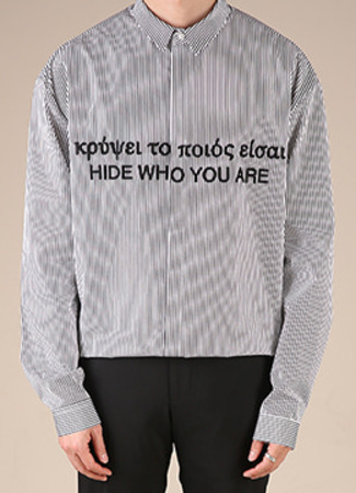 [Limited] [특가 기획] Striped 'hide who you are'embroidered shirt