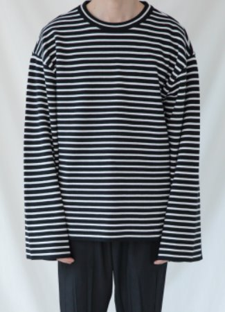 [50% SALE] Banded sleeve stripe over fit sweater