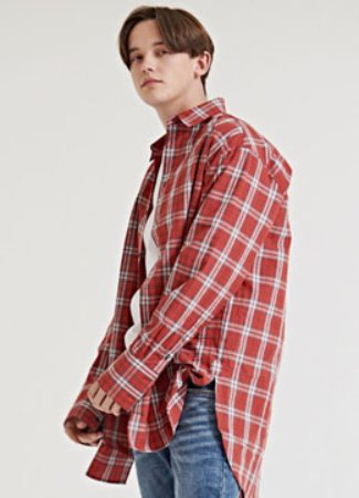 [수입 소재] Plaid check over shirt RED