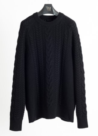 [Cashmere ]Raglan multi cable sweater black