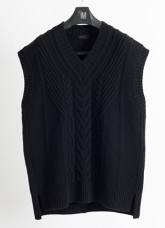 [Cashmere] Cable knitting over vest black