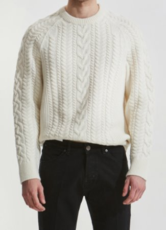 [Cashmere] Raglan multi cable sweater white