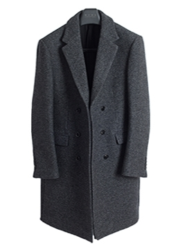Tweed wool double coat-charcoal [균일가]