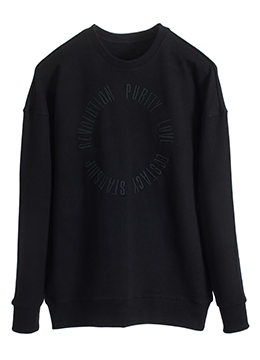 [3주년 특가 기획]Revolution three cover stitch sweatshirt- black / white