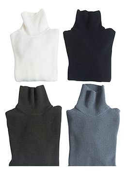 [Micron18.0 wool100%]Mini waffle special price polo neck- 4 color -[30% SALE]