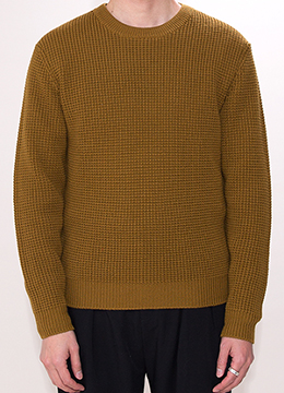 [Micron18.0 wool 100%] 7G waffle sweater - 4 color -[40% SALE]