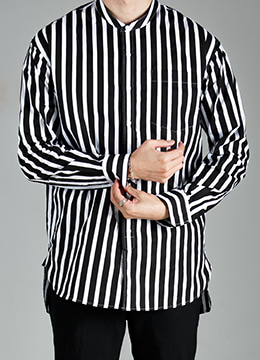 Bold stripe semi over china collar shirt- 2 color