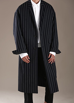[50% SALE] Pin stripe over fit coat