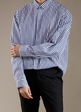 [Europe fabric] Stripe over fit shirts