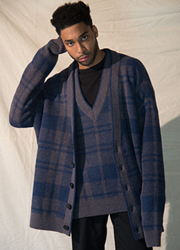 [Italy yarn] Check plaid jacquard oversized cardigan- 2 color