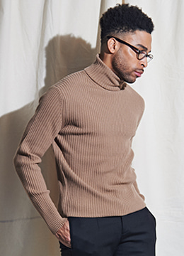 [Italy yarn] Cashmere golgi polo neck sweater - 2 color