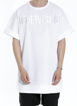 [Japanese fabric]  Embroidered hem  long  t-shirt  white ver.