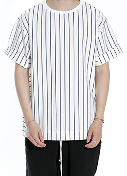 [Limited] [Japanese fabric]  Over fit stripe t-shirt  [2 color]