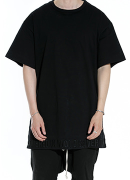 [Japanese fabric] Embroidered hem  long  t-shirt  black ver.