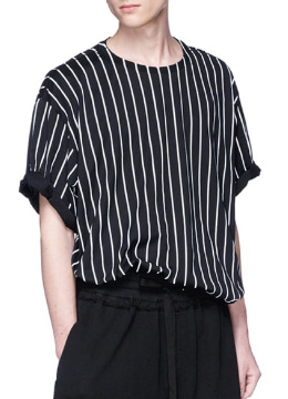Oversized Striped Cotton-Jersey T-Shirt -black