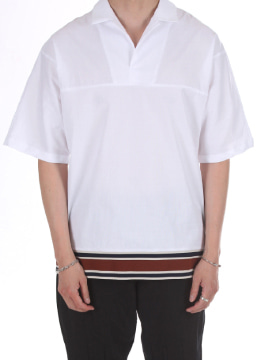 Short sleeve open collar banding point shirts