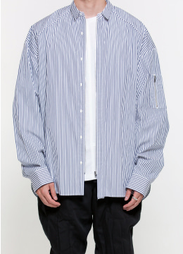 [Eurofabric] Front zipper ma-1 stripe shirt