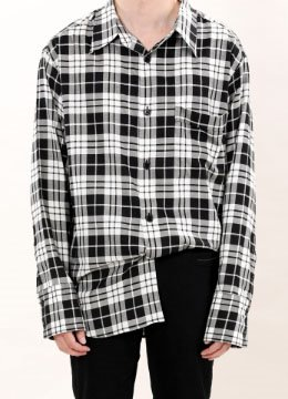 Black check pocket overfit shirt
