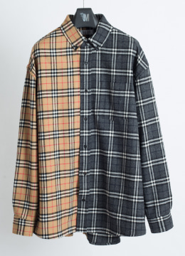 Half&Half check wool shirt