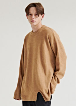 [Italy air cashmere] Over fit round sweater - 2 color