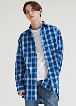 Plaid check long shirt [3 color]