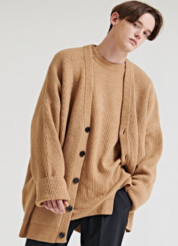 [Italy cashmere] Over fit heavy cardigan- 2 color