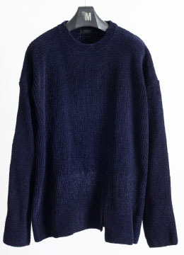 [Italy yarn] Velvet over fit sweater - navy