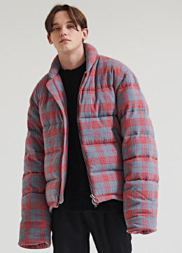 [특가기획] Long sleeves short wool down jumper - redpink check