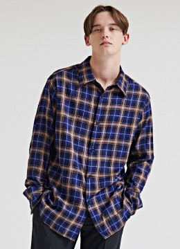Balenst blue check over fit shirt
