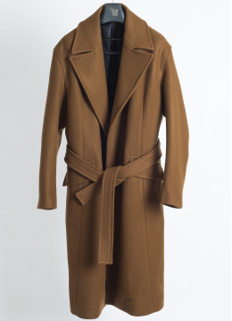 Belted over fit long coat  camel