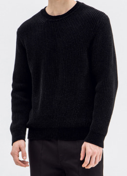 [Italy yarn] Velvet basic fit sweater - black