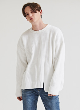 [Italy yarn] Velvet over fit sweater - pure white