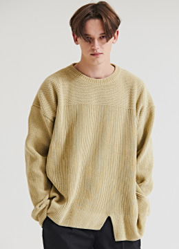 [Italy yarn] Velvet over fit sweater - greenish beige