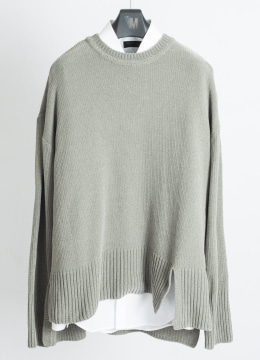 [Italy yarn] Double slit up velvet sweater -oat grey