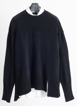 [Italy yarn] Double slit up velvet sweater -black