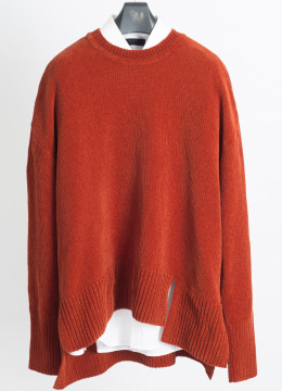 [Italy yarn] Double slit up velvet sweater - brick orange
