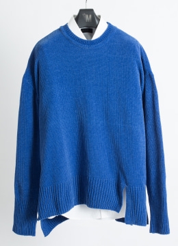 [Italy yarn] Double slit up velvet sweater -fade blue