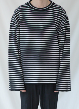 [30% SALE] Banded sleeve stripe over fit sweater
