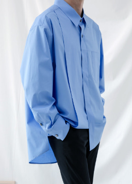 Slit over shirt - blue