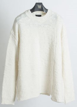 [Italy yarn] Distressed loose knit - white