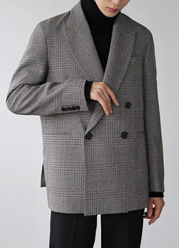 [MOMA&D.ANSWER]  Peaked collar check  double blazer
