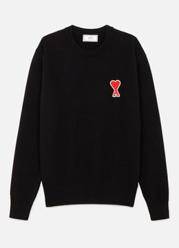 Heart patch wool sweater [2 color]