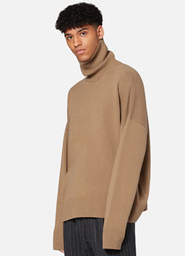 [Cashmere] Over fit turtle neck  camel
