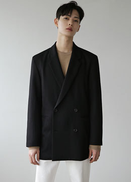 [moma&danswer] Wool twill oversized double jacket