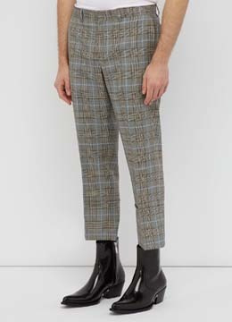 [50% SALE] [Wool 100%] Blue check turn up pants