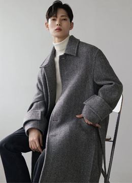 [moma&danswer] Side pleats herringbone mac coat