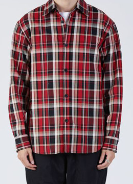 Heavy check semi-over shirts - black&red