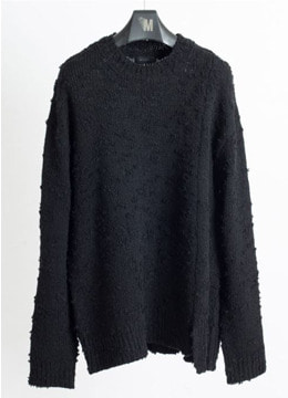 [Italy yarn] Distressed loose knit -black