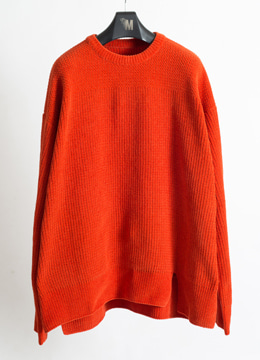 [Italy yarn] [Limited] Velvet over fit sweater - deep orange